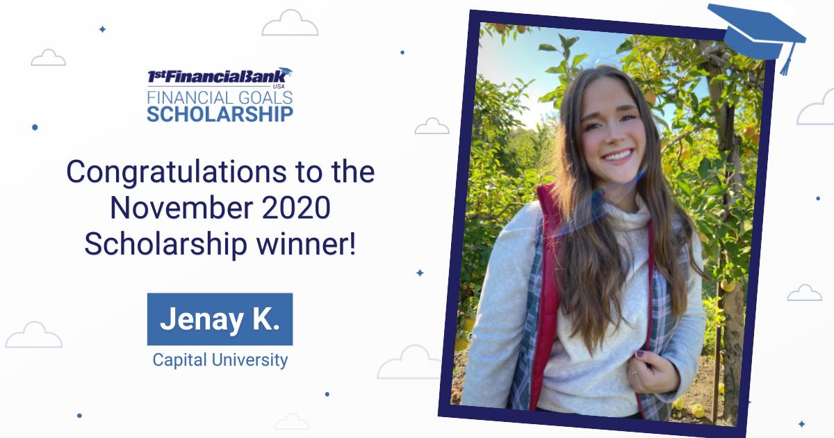 November Scholarship Winner Jenay K.